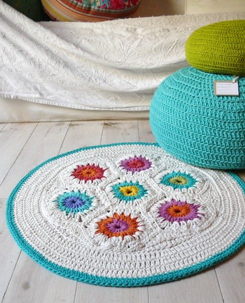 tapete de croche com flores - 5 Ideias para tapetes