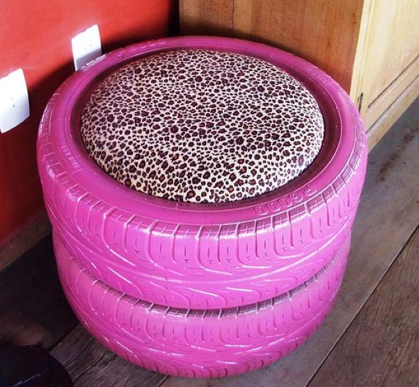 Puff artesanal pneus 1 - Ideias de pufes artesanais