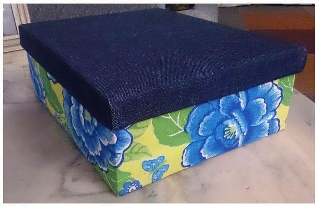 caxinha de papelao - 5 ideias de artesanato com tecido chita