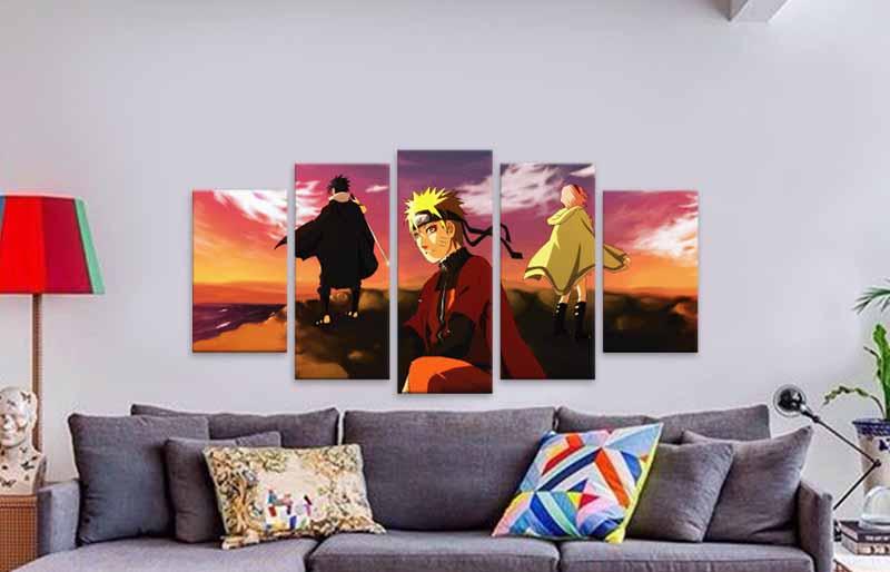quadro em canvas personalizado 5 pecas em 1 naruto time 7 294393050 457655438 - Decoração artesanal para a parede – ideias fáceis