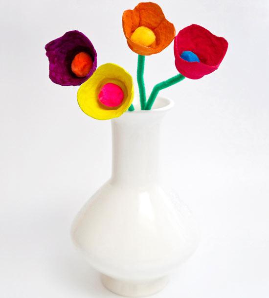 flores - Artesanato com Caixa de Ovo: Ideias com Passo a Passo