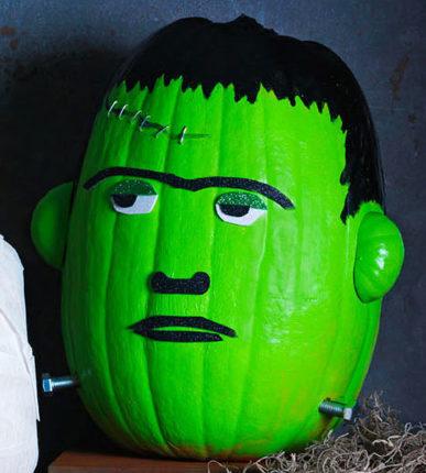Como fazer uma abobora Frankenstein para o Halloween 387x430 - Como fazer uma abóbora Frankenstein para o Halloween
