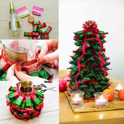 arvore de natal com balas 430x430 - Decoração de natal: enfeites para fazer em casa