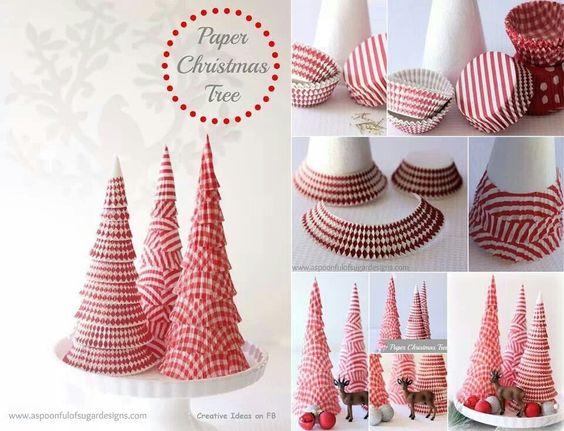 arvore de natal com forminhas de papel - Decoração de natal: enfeites para fazer em casa