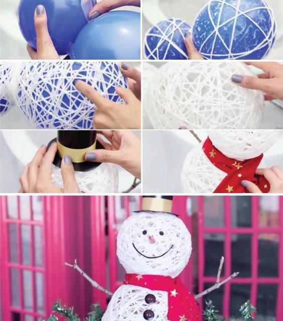 enfeite de natal com barbante endurecido - Decoração de natal: enfeites para fazer em casa