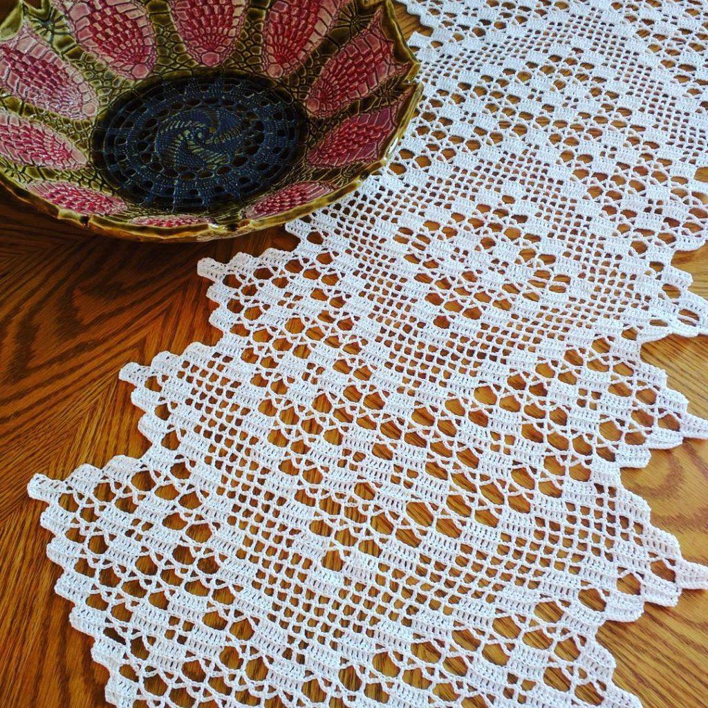 caminho de mesa de croche 1 1024x1024 - Trilhos de mesa de crochê